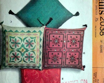 Indian Pillows, McCall's 2038 Vintage 60's Sewing/Craft Pattern, 12 Inch Square Pillows
