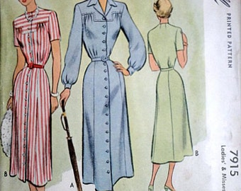 Misses' Dress, McCall 7915 Vintage 40's Sewing Pattern, Size 18, 36 Bust