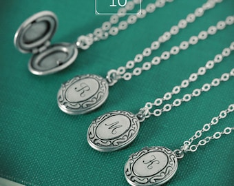 QUANTITY of 10 - Personalized Tiny Initial Locket Necklace with Your Letter on Sterling Silver Chain, Bridesmaid Gifts, Bridal Party