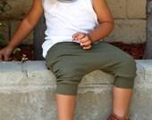 Baby Boy Baby Girl Olive Green Harem Shorts: Etsy kid's fashion, toddler boy toddler girl, lightweight summer shorts, cool toddler, trendy