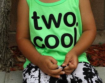 "Baby Boy, Toddler Boy ""two cool"" Tank Top T-Shirt - Lime Green Shirt, Black Ultrasuede Lettering - Etsy kid's fashion, Birthday T-shirt"