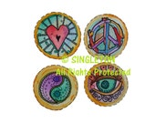 Hippie Tags, Digital Tags, Canning Jar labels, round tags, round labels, singleton hippie art, peace sign, all seeing eye,  jar label