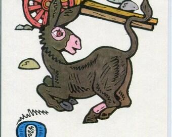 Vintage Donkey Russian Postcard, farm cart, animals Illustration postcard