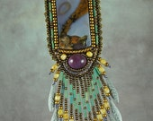 Necklace, jewelry, bead embroidery, eahle, Amethyst Sage Agate with Vintage Sterling Silver Eagle and Amethyst