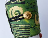 African Ethnic Elephant Coffee Cup Cozy which is Eco Friendly & Adjustable for hot and cold drinks - READY TO SHIP