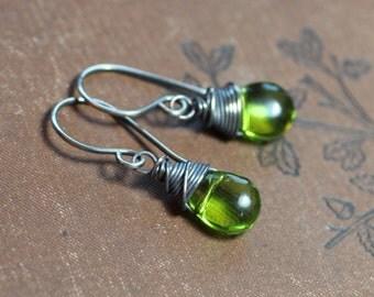 Green Earrings Grass Green Glass Briolette Earrings Antiqued Silver Wire Wrapped Earrings Rustic Jewelry