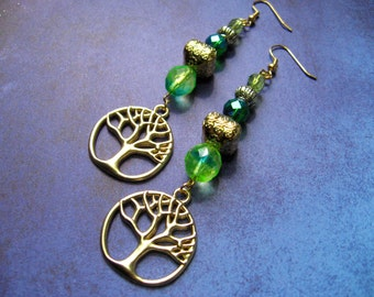 Green and gold Earrings - Tree of Life