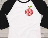 Monogram shirt for teachers - chevron apple monogram ADULT raglan shirt- perfect for all Fall activities