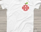 Monogram shirt for teachers - chevron apple monogram ADULT tshirt- perfect for all Fall activities