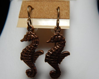 Earrings - Antique Brass Seahorses