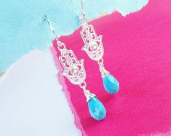 Turquoise earrings, sterling silver hamsa earrings, hand of fatima, good luck, evil eye jewelry, kabbalah, boho jewelry, bohemian, otis b