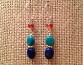 Genuine Lapis Earrings, Nevada Turquoise Earrings, Carnelian Earrings, Orange Blue Gemstone Earrings Sterling Silver Southwestern Earrings