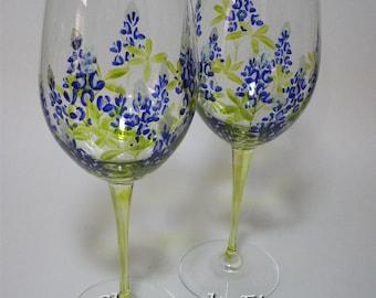 Texas Bluebonnet Wine Glasses Hand Painted 16 oz set of 2