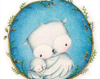 """art print - wall art - cute wall art - birds - winter- water colour - """"Home Sweet Home!"""""""