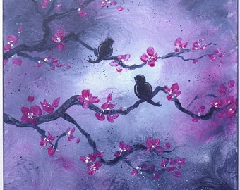 Birds on a branch landscape painting, lovebirds on flowering branches 12x12 square art with purple tones