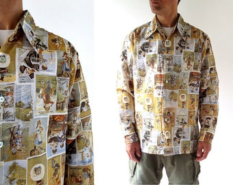 Men's Disco Shirt / French Advertising Novelty Shirt / 1970s Shirt / XL