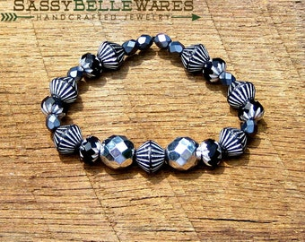 As Seen on Chasing Life - Silver and Black Bracelet with Czech Glass Beads as seen on tv glamorous boho chic glam stackable stacking stack