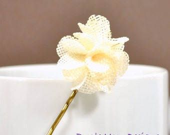 Vanilla Burlap Bobby Pin - Flower Bobby Pin - Burlap Accessories