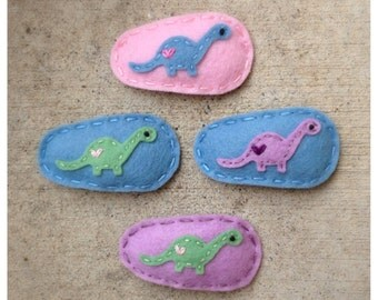 PICK YOUR- Girly Dinosaur Wool Felt Hair Clip