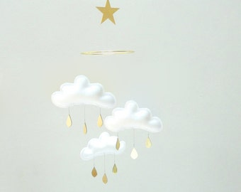 "White and Gold cloud mobile for nursery ""SHIRO"" with gold star by The Butter Flying-Rain Cloud Mobile Nursery Children Decor"
