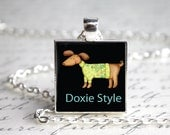 Doxie Style Dachshund Pendant Necklace with Paw Print Organza Bag
