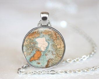 "Vintage North Pole Map Changeable 1"" Magnetic Pendant Necklace with Organza Bag"