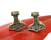 Thors Hammer Cufflinks Mens Bronze Mjolnir Cuff Links Viking Cufflinks 485