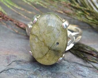 Oval Gemstone Statement Ring ~ Labradorite Cabochon Ring - size 7.5