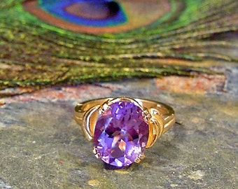 Amethyst Solitaire Ring in 14 Kt Solid Gold ~ 4.37ct Faceted Bolivian Amethyst ~ February Birthstone - size 7
