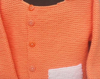 Hand knit Garter Stitch Cardigan with Pocket, Peach and White color, Size 4T