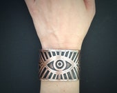 Etched Copper Cuff - Rising Eye Cuff - Alchemy - made in Austin, Tx
