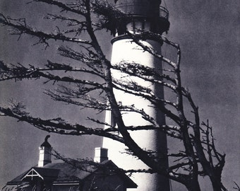 1940s Vintage Photography - Maine Lighthouse - Wonderful 40s Vintage Book Art Photograph Great Vintage Print for Cottage or Cabin
