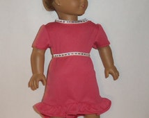 18 inch Doll Dress,  Ruffled Party, High Low Hemline, Shiny Belt, Special Occasion, Rose Colored, American Made, Girl Doll Clothes