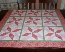 Quilted Lap Quilt, 44x44 inches, Fabric Wall Hanging, Sale Priced, Spinning Star, Square Table Topper,  Machine Quilted