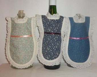 Dish Soap Apron, Handmade, Wine Bottle, Detergent Cover, Floral, Blue, Green, Bottle Gift Wrap,  Kitchen Decor,  Eyelet Lace