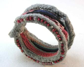 beaded cuff bracelet statement cuff neoprimitive style modern boho design soft cotton bracelet  2483