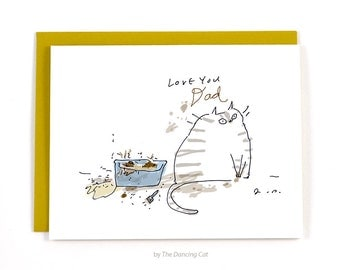 Cat dad Card - Love You Dad - Litter Box - Funny Cat Card for Dad - From the Cat
