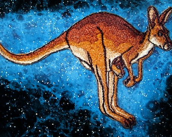 Red Kangaroo Mom and Joey Iron on Patch Australia