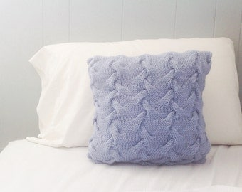 Ocean Ripples Knitted Throw Pillow in Blue