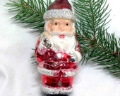 Santa Claus Mercury Glass - Vintage Christmas Tree Ornament - West Germany - Shabby Tree - Hand blown  Figural Collectible - Father Xmas