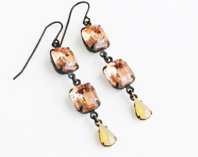 Peach Earrings Vintage Rhinestone Rosaline Crystal Dangles Light Yellow Peach Glass Drops Pastel Bridal Earrings Jewelry