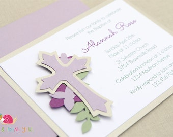 Floral Cross Invitations · PLUM A2 LAYERED · Purple and Silver Shimmer · Christening | Baptism | Dedication | First Holy Communion
