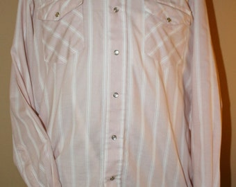 Vintage Men's Cowboy Western Shirt by Open Range, Salmon and White with Pearl Snaps