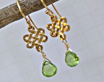 Green Peridot Earrings Wire Wrapped 14kt Gold Filled Earrings Peridot Gemstone Petite Earrings August Birthstone Birthday Gift for Her