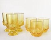 Set of 6 Vintage 1960s Tiffin Franciscan Yellow Cornsilk, Retro Drinking Glasses, Water/Juice Glasses