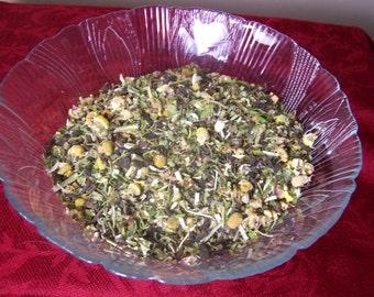 Organic Calm Relaxation Tea Blend loose bulk - calming insomnia sleep anxiety - Chamomile Peppermint decaf green tea scullcap stevia betony