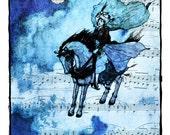 Arabian Nights, Edmund Dulac Illustration, Sheet Music Art, Art Print Posters, Flying Blue Horse, Dictionary Print, Home Decor, Giclee Print