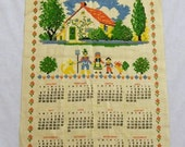 Vintage Calendar Towel, Bless this house, 1974 Calendar Towel,  Calendar Tea Towel,  Calendar Towel