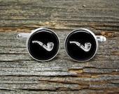 Pipe Smoking Merscham Vintage Silver-Cufflinks-Wedding- Jewelry Box-Keepsake-Gift-Man-Men-USA-Aviation-Science-Steampunk-Geek-History-Smoker