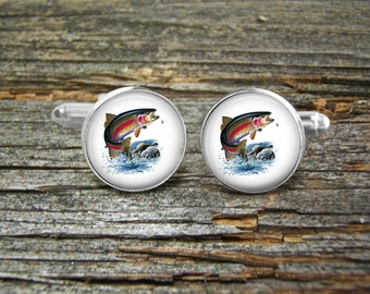 Fishing-Fly Fisherman Trout Cufflinks Wedding-Wedding Cufflinks- Jewelry Box-Silver-Keepsake-Gift-Man gift-Sports-Groomsmen-Men-Fly Fishing